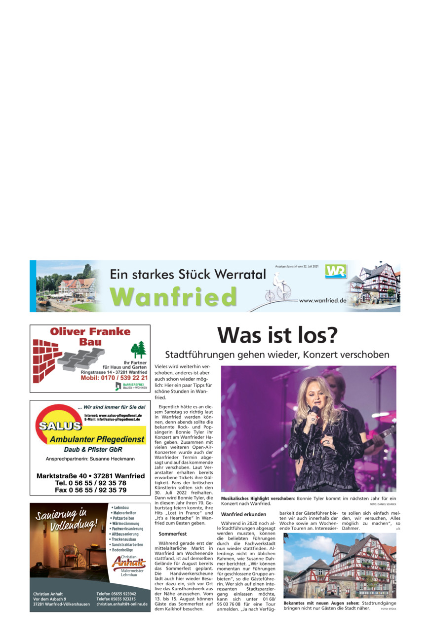 Wanfried vom Donnerstag, 22.07.2021